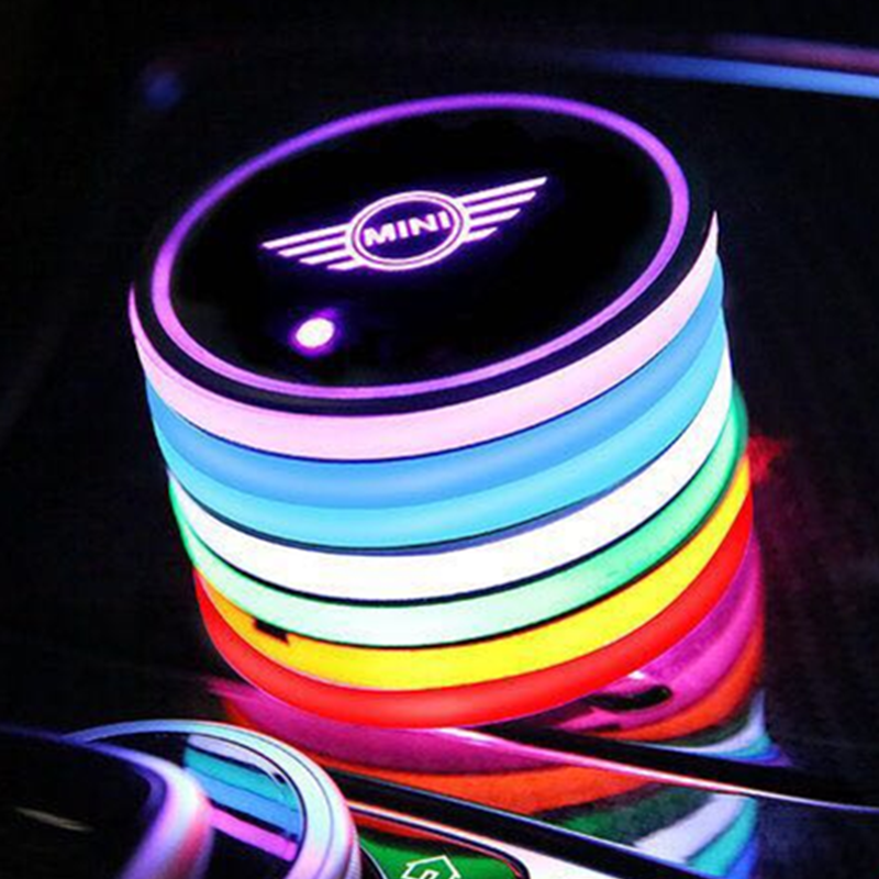 2X Led Car Logo Cup Light UBS Car Atmosphere Light Colorful Water Coaster For Mini Cooper Countryman F54 F55 F60 R55 R56 R60 R61
