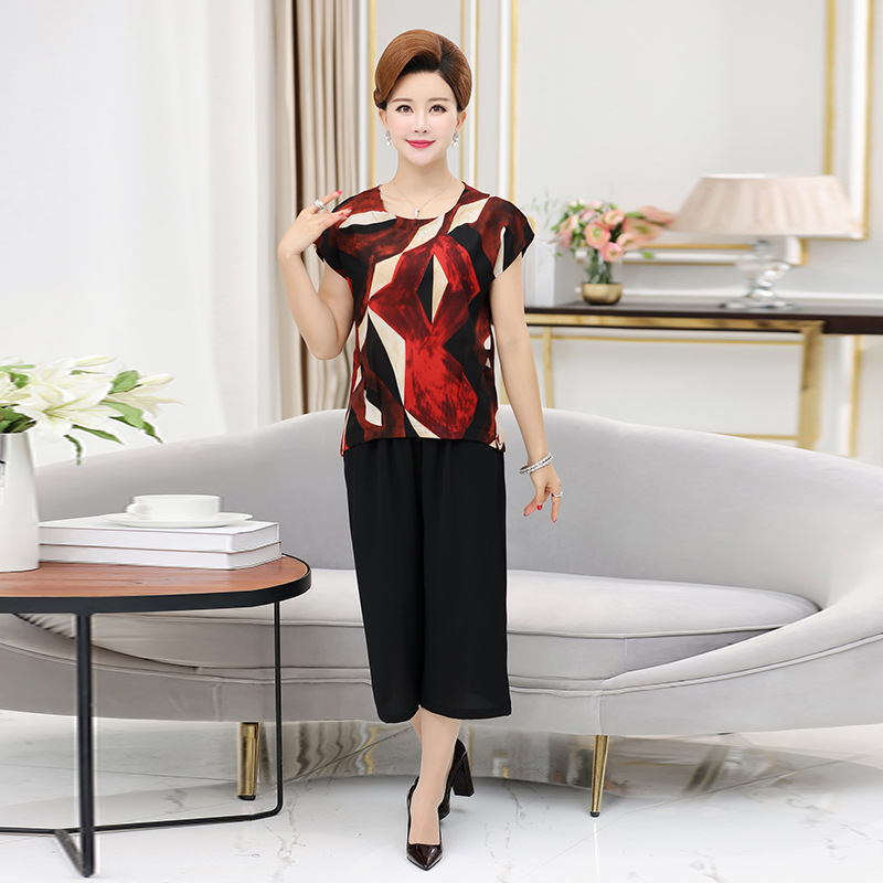 Middle-aged Mom Set Summer Short-sleeved Top 40-50-Year-Old Middle-aged Summer Wear For Women Chiffon Loose Pants Two-Piece Set