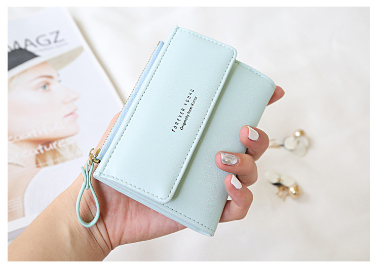Ladies Purse Woman Fresh Fashion Forever Young Female Wallet Carteira Slim Small Wallet Women Short Coin Card Holder