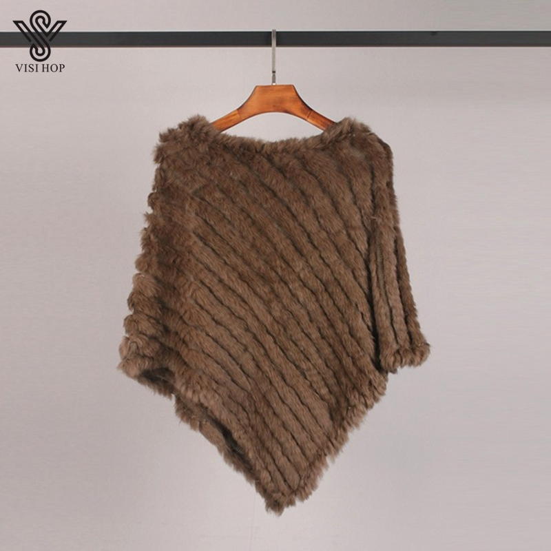 Image 4 - VISI HOP Fashion Style Womens Poncho Real Rabbit Fur Knitted Shawl Ladies Top Quality Cape VS5201Real Fur