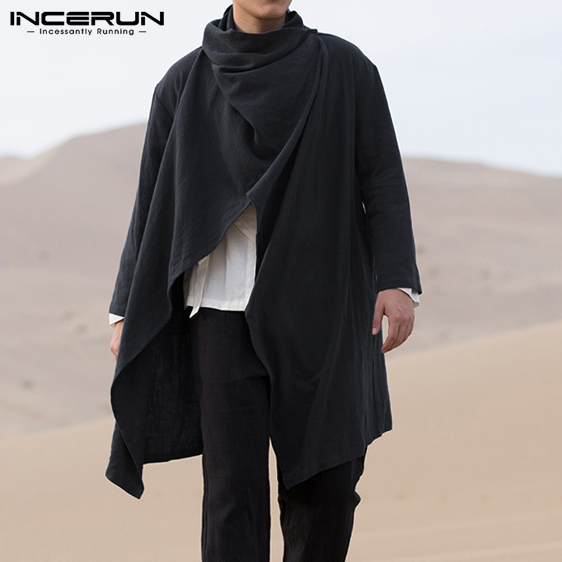 INCERUN Vintage Men Trench Coats Cotton Solid Turtleneck Casual Long Sleeve Outerwear Street Irregular Jackets Men Ponchos Cloak