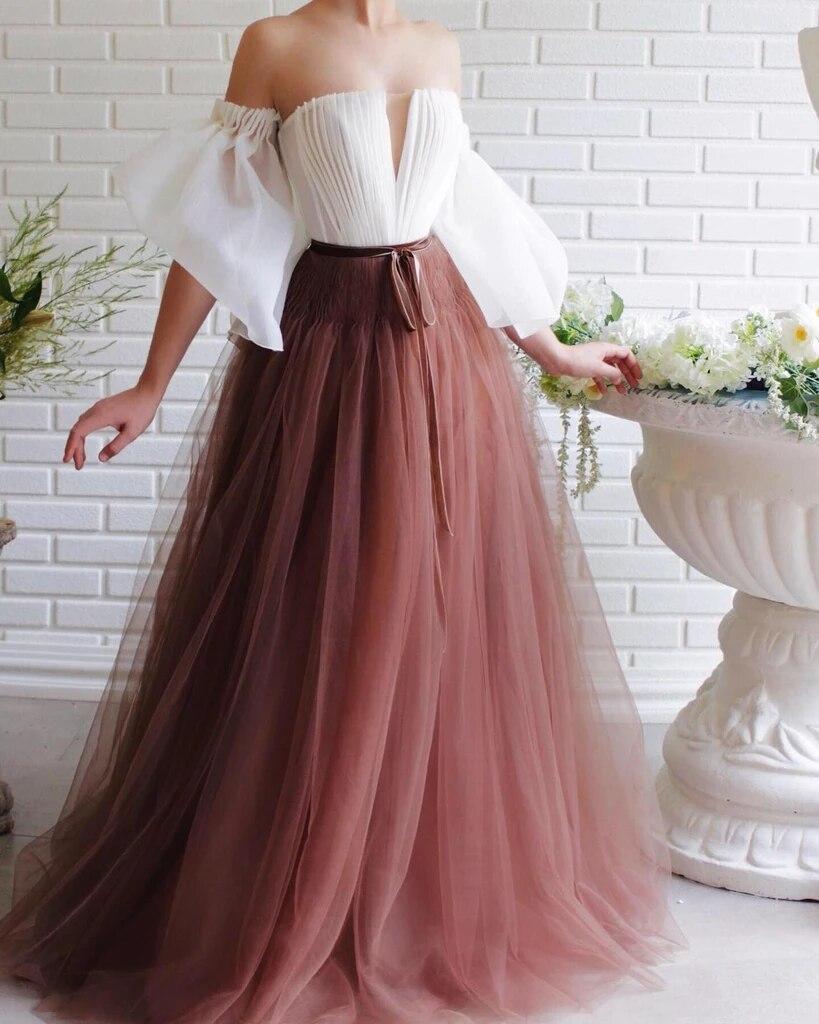 Brown Muslim Evening Dresses 2019 A-line Off The Shoulder Tulle Islamic Dubai Saudi Arabia Long Formal Evening Gown