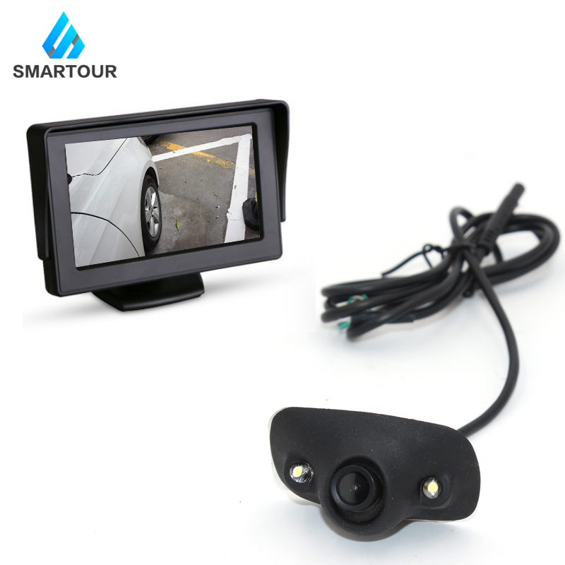 Smartour HD Waterproof Parking Monitors System 2 LED Night Vision Car Rear View Camera 4.3 Inch  Rearview Mirror Front/Side /Lef