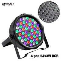 4pcs/lot LED Flat Par 54x3W RGB Color Lighting Super Bright Beads DMX 512 Strobe For Home Dance Floor DJ Bar Stage Light Effects