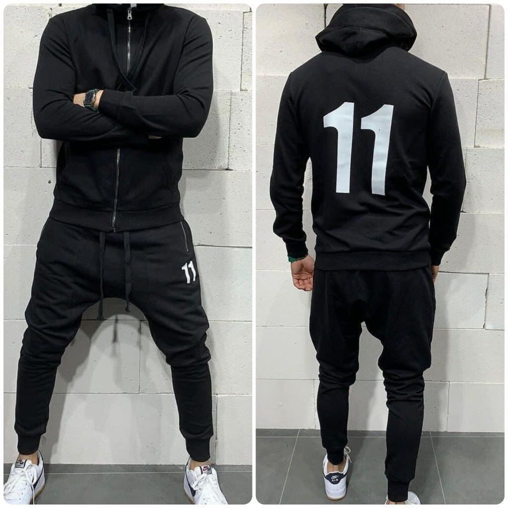 Men's 2 Pieces Set Suit Casual Hooded Sweatshirt Tracksuit Men Fashion Autumn Long Sleeve Zipper Solid Color Sportswear Set