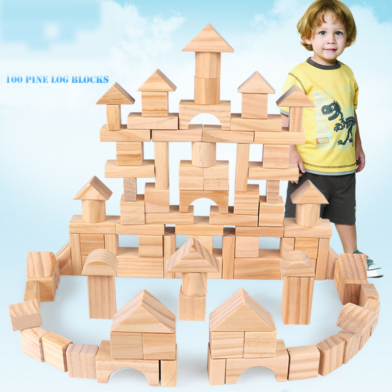 Dropship 100pcs Wooden Blocks Bbay Montessori Educational Toy Cube Game For Kids Geometric Assembling Building Blocks Pine Wood