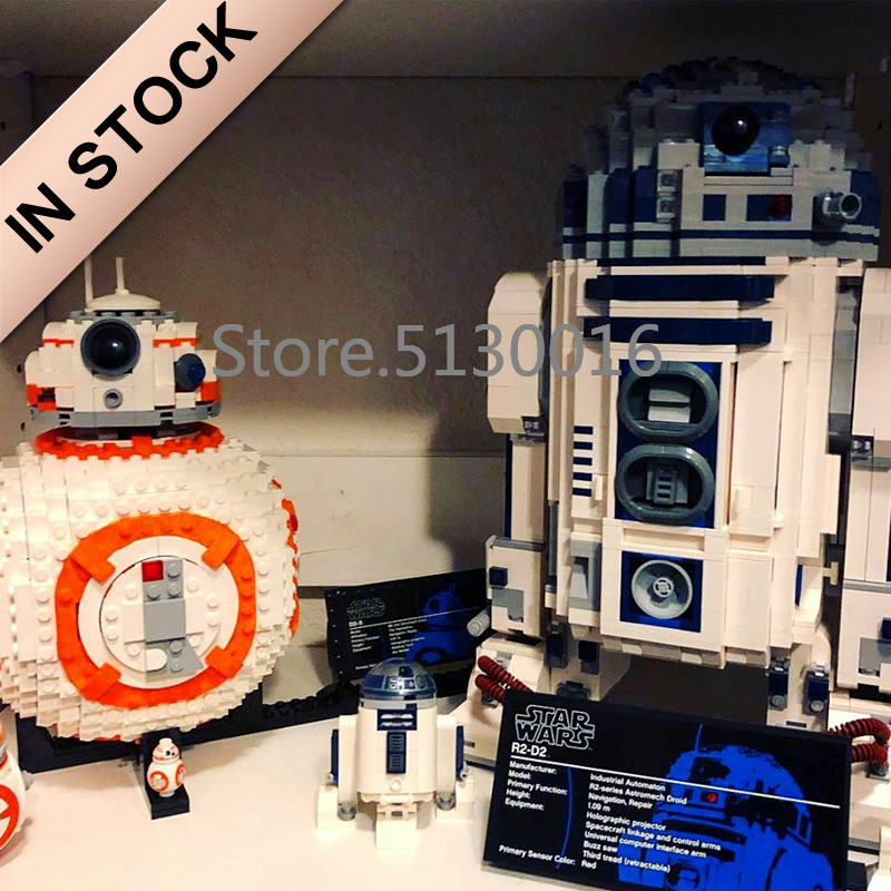 <font><b>Star</b></font> Series <font><b>Wars</b></font> Robot Series R2D2 <font><b>BB8</b></font> WALL E 16003 05043 10906 687Pcs Ideas Model Building Blocks 10232 75187 10225 05128 21303 image