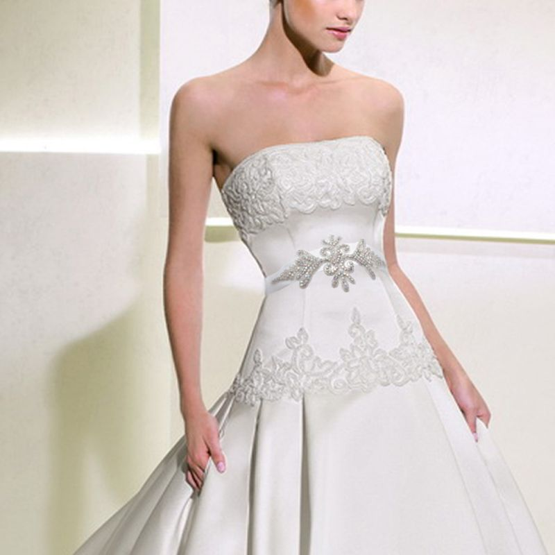 Women Bridal Classic Handmade Woven Jewelry Wedding Waist Belt Hologram Glitter Rhinestone Applique Dress Gown Sashes Cummerbund