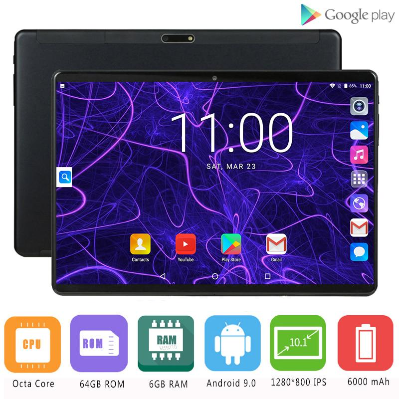 10.1 Inch 6G+128GB Android 9.0 Tablet Pc Octa Core Google Play 3G 4G LTE Call Tablets GPS WiFi Bluetooth 2.5D Tempered Glass
