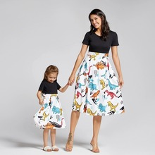 Fashion and elegant Zaraing dress summer festival round neck short-sleeved dinosaur print big swing dress parent-child wear