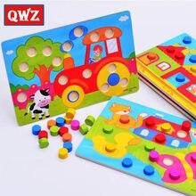 Qwz montessori tangram de madeira jigsaw board educacional aprendizagem precoce dos desenhos animados quebra-cabeças de madeira jogos crianças brinquedos para crianças presentes