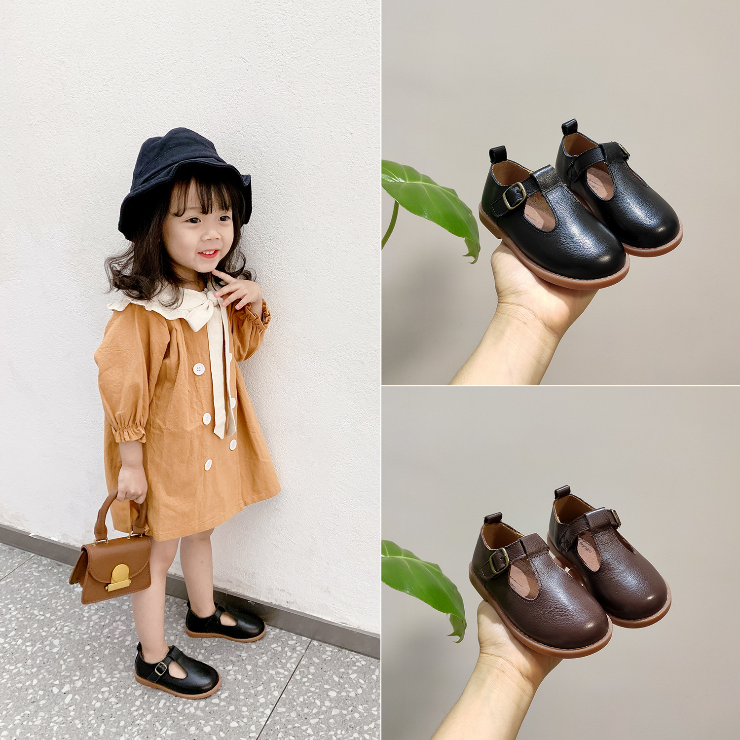 Children Genuine Leather Shoes Vintage Dancing Girls Back School Shoes Kids Infant Formal Casual Flat Party Pumps Retro Sneakers