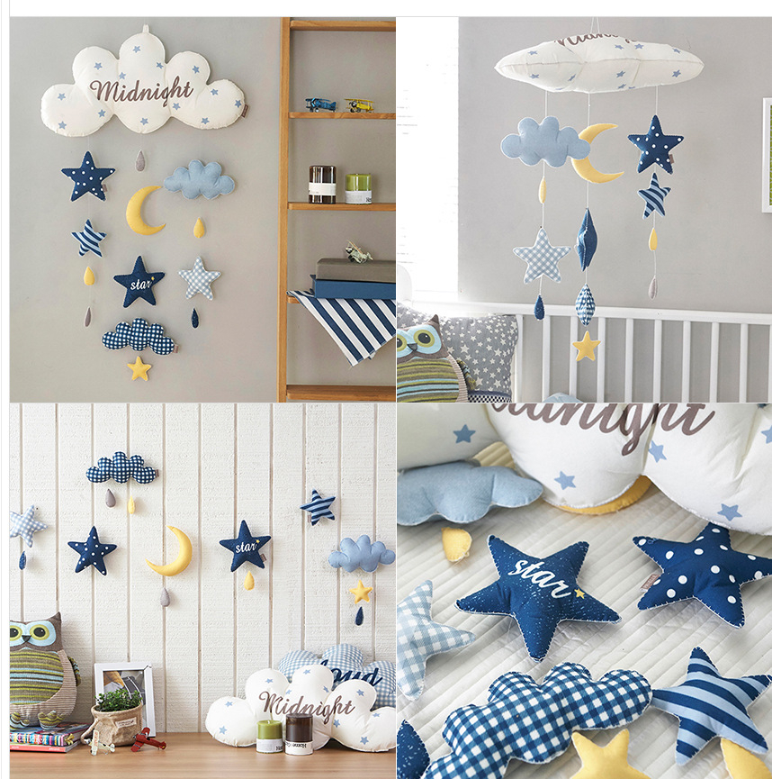 Infant Bed Toys Cycle Rattles DIY Pattern Moon Rocket Kid Imagination Handmade Toy Crib Mobiles Holder Music Box Baby Bed Toys