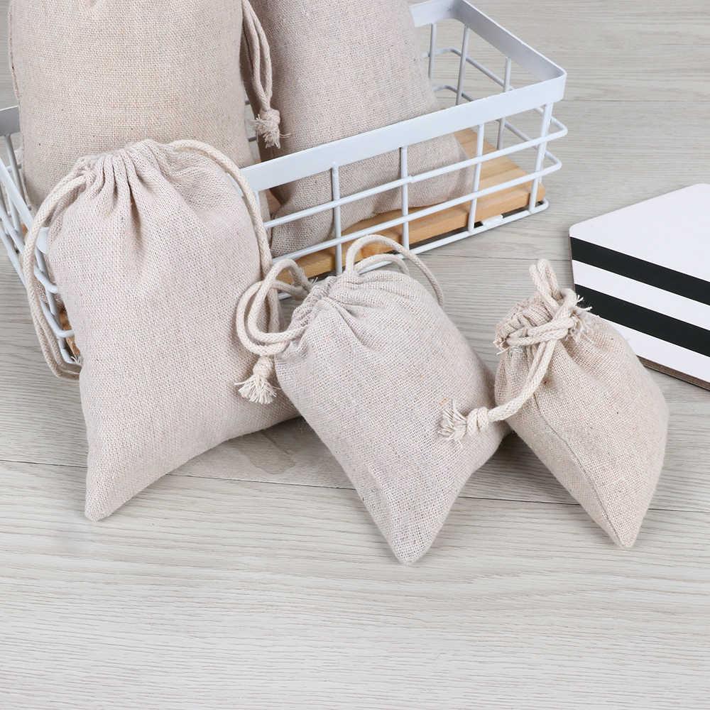 1PC 綿無地ジュートギフトバッグリネンキャンディーオーガナイザー巾着ポーチ家の装飾袋食品収納結婚式の好意の供給