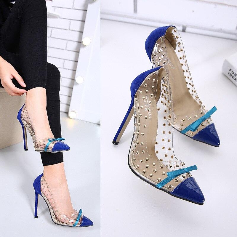 AliExpress Lazada Transparent Joint Rivet Pointed Stiletto Large Size WOMEN'S Shoes