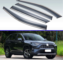 Plastic Exterior Visor Vent Shades Window Sun Rain Guard Deflector 4pcs For TOYOTA Rav4 XA50 2019 2020 light transmission wind deflector for toyota rav4 rav 4 2013 2014 2015 2016 2017 rain window visor for toyota rav4 2013 2017