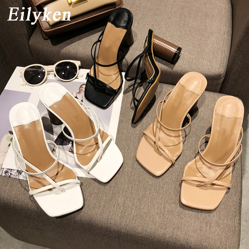 Eilyken 2020 New Summer Women Sandals Slipper High Cylindrical Heel Outdoor Flip Flops Narrow Strap Women Slides