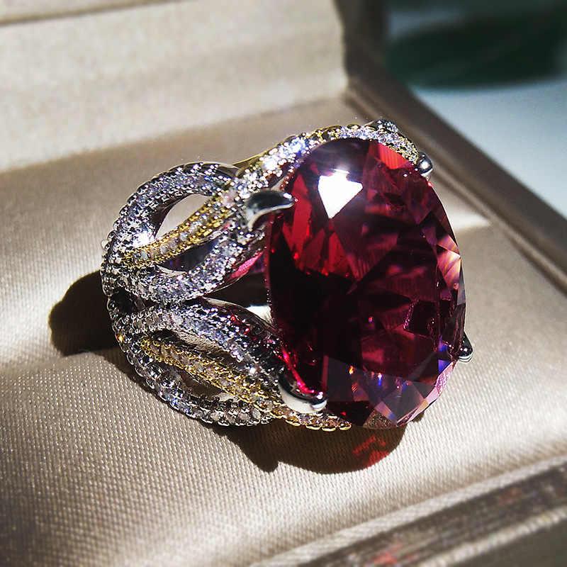 Luxury ชายหญิงใหญ่สีแดงหินแหวนเงินรูปไข่แหวนแฟชั่น Wedding Engagement แหวน