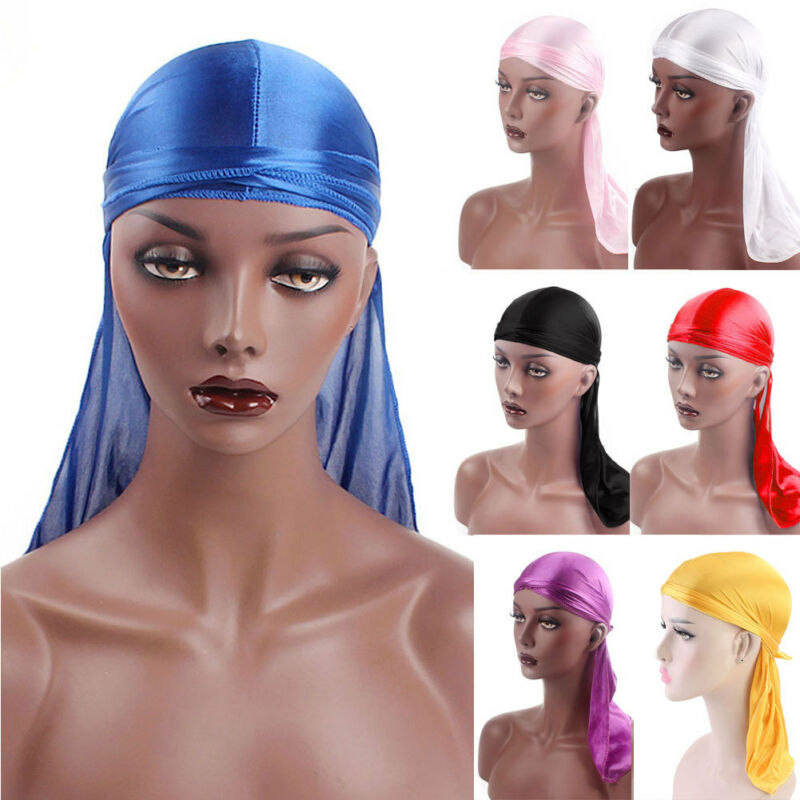 More Color Unisex <font><b>Men</b></font> Women Bandana <font><b>Durag</b></font> Headwear Soft <font><b>Silk</b></font> Pirate Cap Wrap 2019 New image