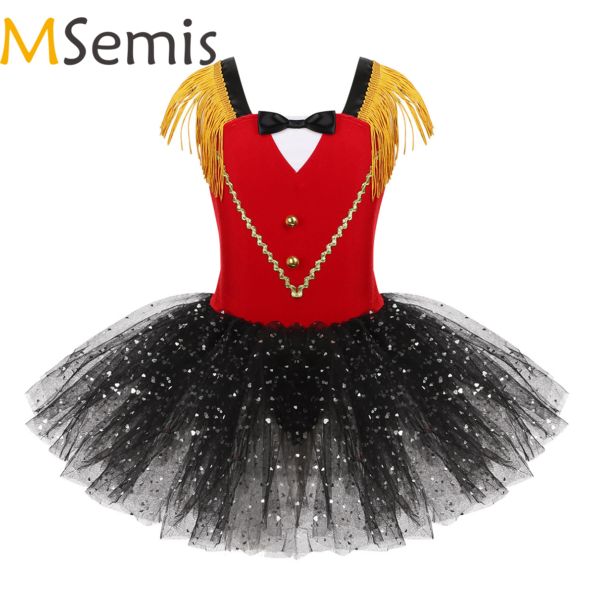 Kids Girls Halloween Circus Ringmaster Costume Dancewear Tassel Bowtie Sweetheart Sequins Tutu Gymnastics Leotard Dance Dress