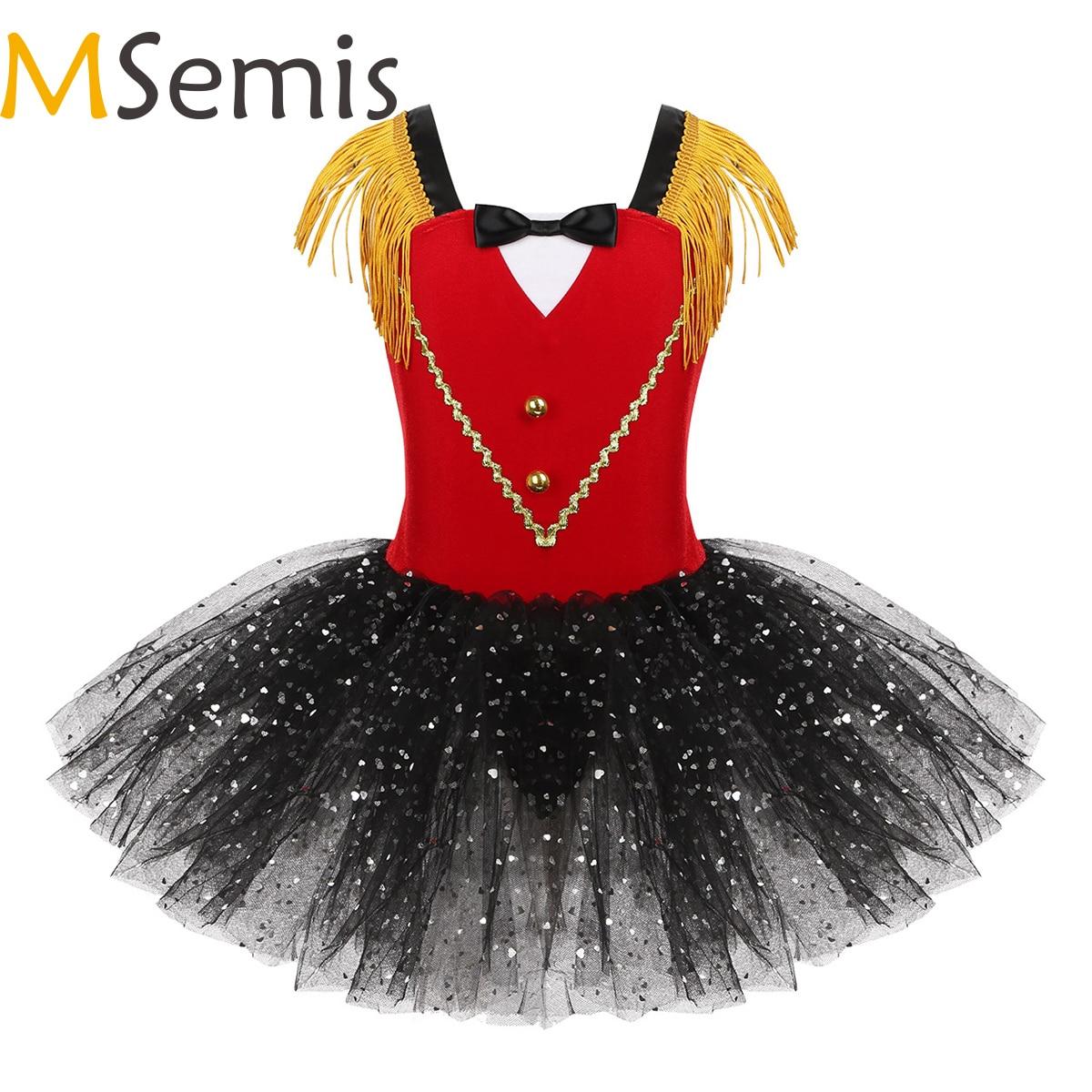 Kids Girls Halloween Circus Ringmaster Costume Dancewear Tassel Bowtie Sweetheart Sequins Tutu Gymnastics Leotard Dance Dress