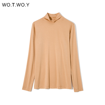 WOTWOY Autumn Winter Basic Half Turtleneck Sweater Women Solid Pullovers Knitwear Women Slim Knitting Tops Femme Cashmere Jumper turtleneck long sweater autumn winter off shoulder knitted sweater dress women solid slim plus size pullovers knitting jumper