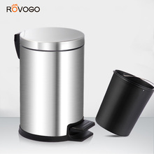 ROVOGO мусорный бак из нержавеющей стали 5л металлический мусорный бак с крышкой мусорные баки с педалью для кухни, ванной комнаты, туалета