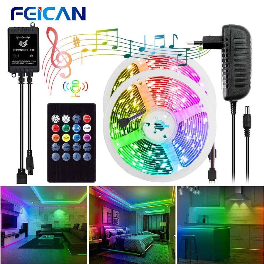 Светодиодная лента, светильник, музыкальная синхронизация, RGB лента, водонепроницаемый, 12 В, датчик звука, дистанционное управление, Диодная...