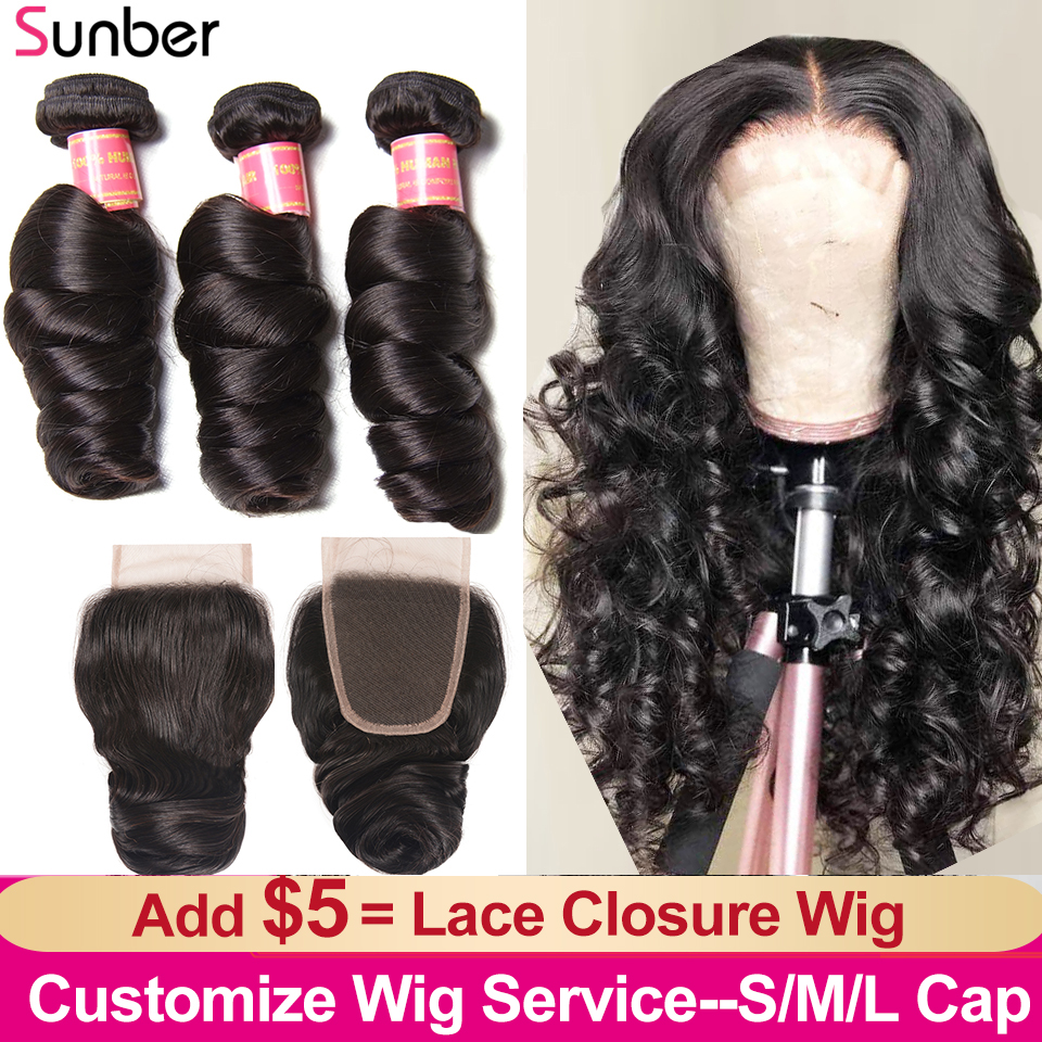 Sunber Peruvian Loose Wave Bundles With Closure Hair 100% Human Remy Add $5.00 to Make S/M/L Cap 4x4 Lace Closure Wigs