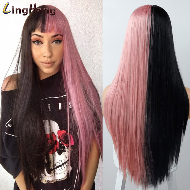 Фото линганг блонд волосы длинные прямые парик с челкой синтетические цена