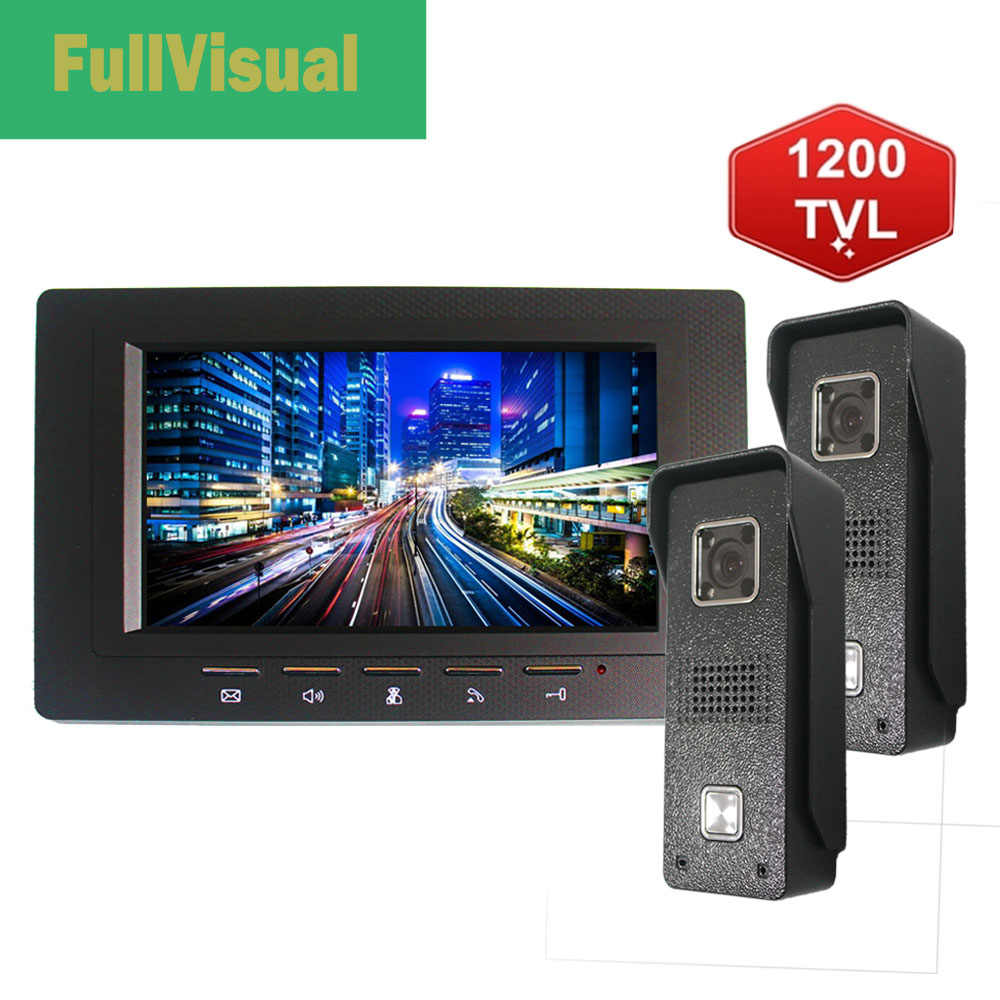 Fullvisual 7 인치 비디오 도어 폰 비디오 초인종 카메라 1/2 패널 홈 인터폰 빌라 및 개인 주택 IR Day Night Vision