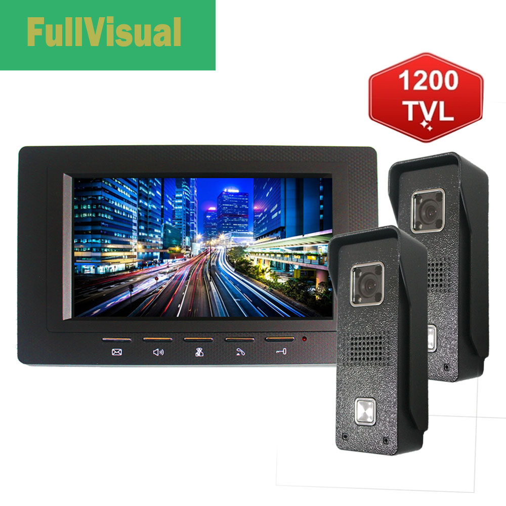Fullvisual 7 Inch Video Door Phone Video Doorbell Camera 1/2 Panel Home Intercom For Villa And Private House IR Day Night Vision