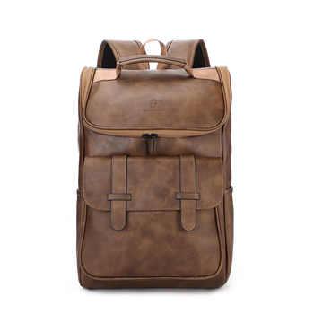 Vintage Laptop Leather Backpacks Tooling Backpack Men\'s Retro Backpacks Men\'s PU Travel Student Bags - DISCOUNT ITEM  20 OFF Luggage & Bags
