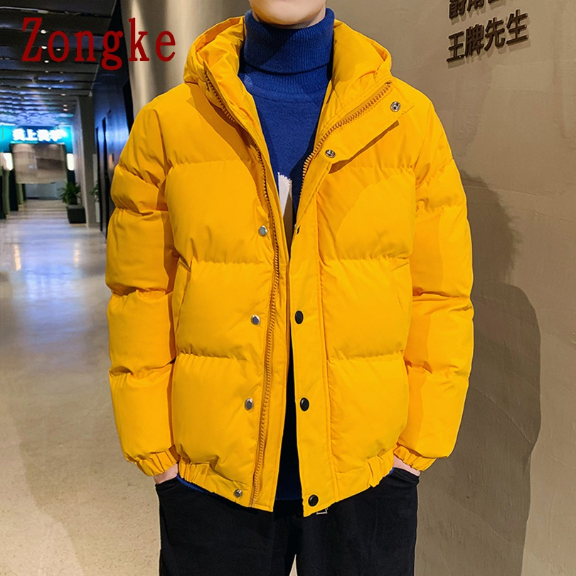 Zongke Solid Hooded Coat Men Jacket Warm Winter Jacket Men Coat Puffer Jacket Parka Winter Coat Men Clothes 2019 Autumn 4XL