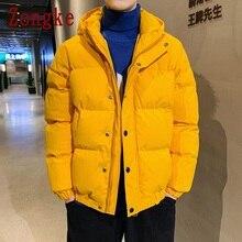 Zongke Solid Hooded Coat Men Jacket Warm Winter Jacket Men Coat Puffer Jacket Parka