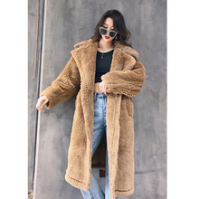 Casaco feminino de pele sintética, casaco longo, quente, manga comprida, grosso, urso de pelúcia, casaco solto, grande, feminino