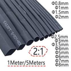 2:1 черный 1 мм 2 3 5 6 8 10 Диаметр Термоусадочные термоусаживающие трубки Sleeving обёрточная бумага провода продать DIY разъем ремонт