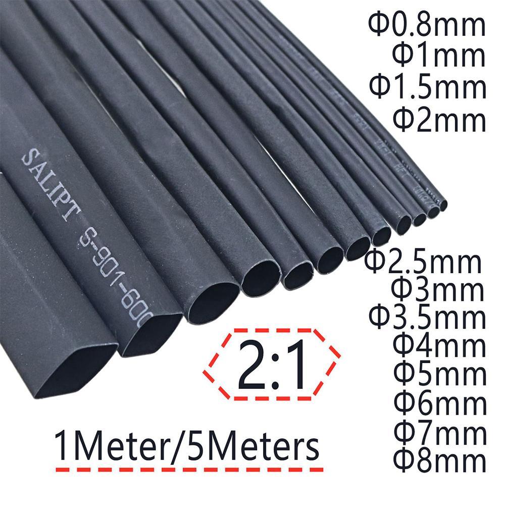 2:1 Black 1mm 2mm 3mm 5mm 6mm 8mm  10mm Diameter Heat Shrink Heatshrink Tubing Tube Sleeving Wrap Wire Sell DIY Connector Repair