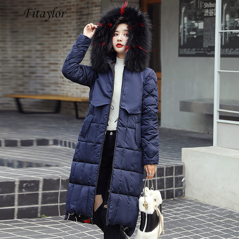 Fitaylor Winter Long Jacket Women Cotton Padded Warm Large Fur Collar Hooded   Parkas   Double-sided Wear Floral Print Snow Outwear