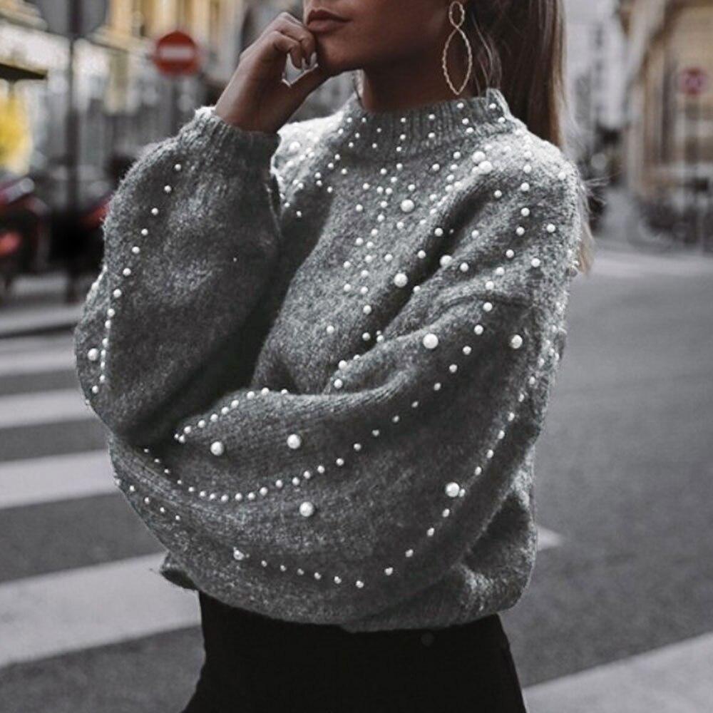 Зимний вязаный женский свитер, водолазка с искусственным жемчугом, свободный серый пуловер с рукавами-фонариками, Женский мягкий теплый по...
