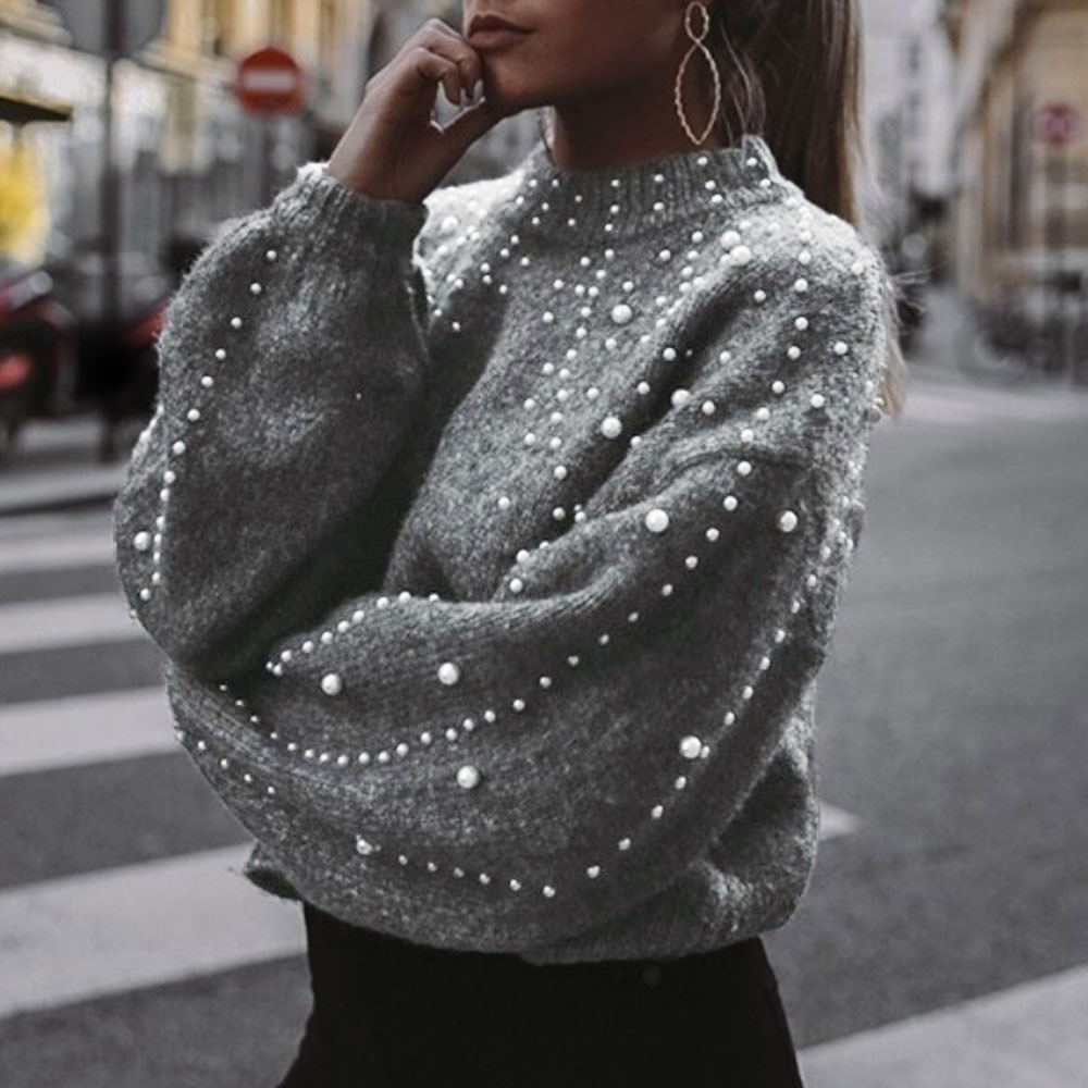 Winter Knitted Sweater Women Faux Pearl Turtleneck Lantern Sleeve Loose Gray Pullover Female Soft Warm Casual Jumper