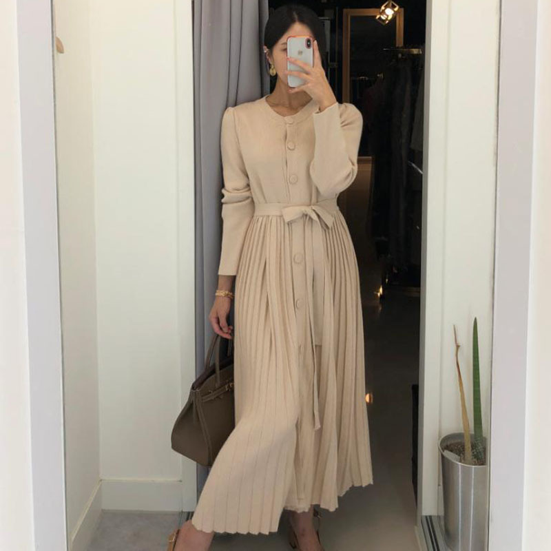 Korean Series Fairy Versatile Slimming Single Breasted Lace-up Pleated Skirt Pendulum Dress Knitted Long Skirts Women's
