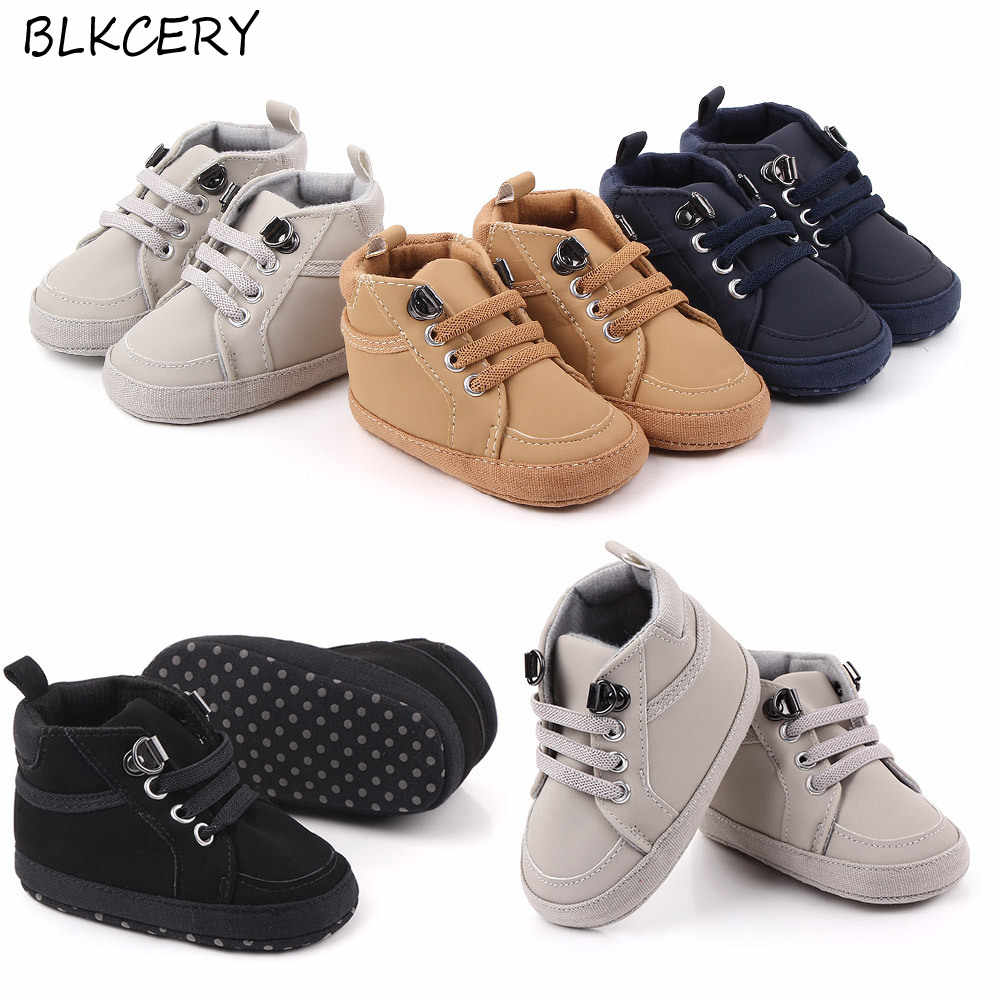 Brand Newborn Baby Boy Shoes Soft Sole Crib Shoes Warm Boots Anti Slip Sneaker Solid Pu First Walkers For 1 Year Old 0 18 Months First Walkers Aliexpress