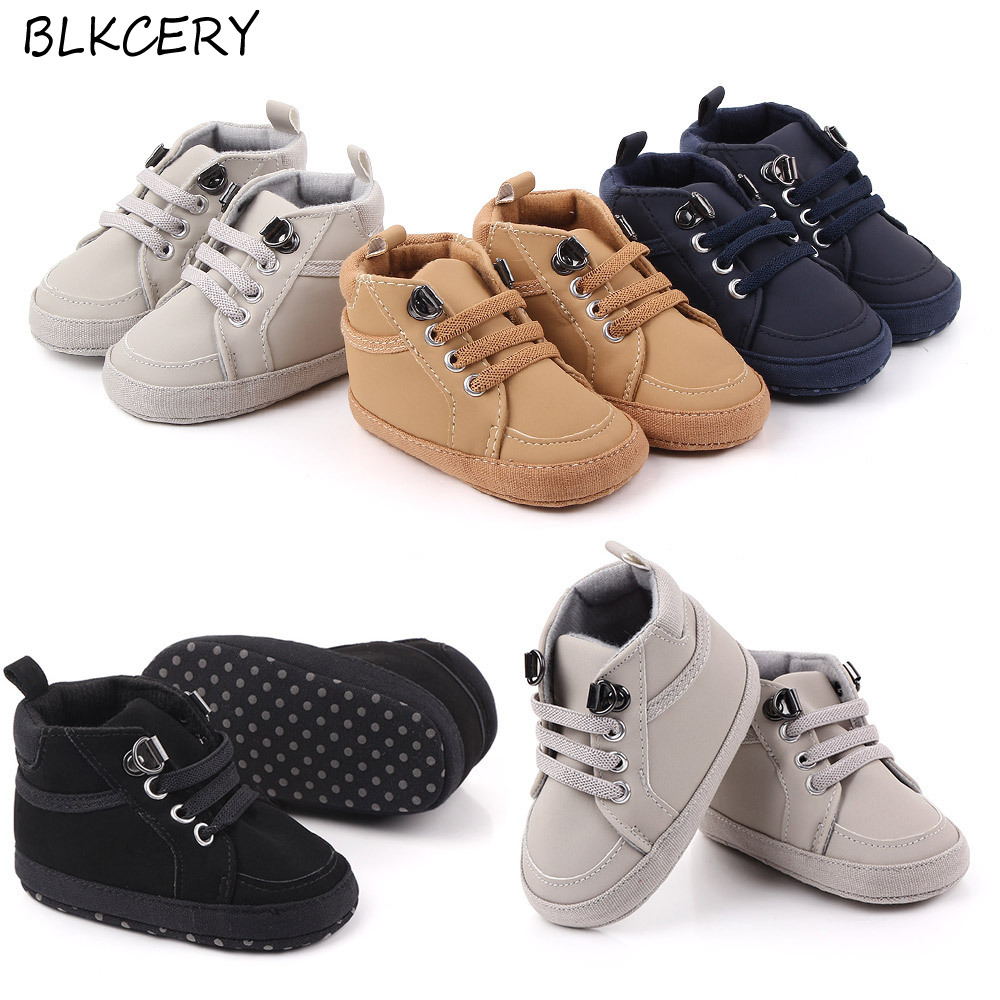 Brand Newborn Baby Boy Shoes Soft Sole Crib Shoes Warm Boots Anti-slip Sneaker Solid PU First Walkers For 1 Year Old 0-18 Months