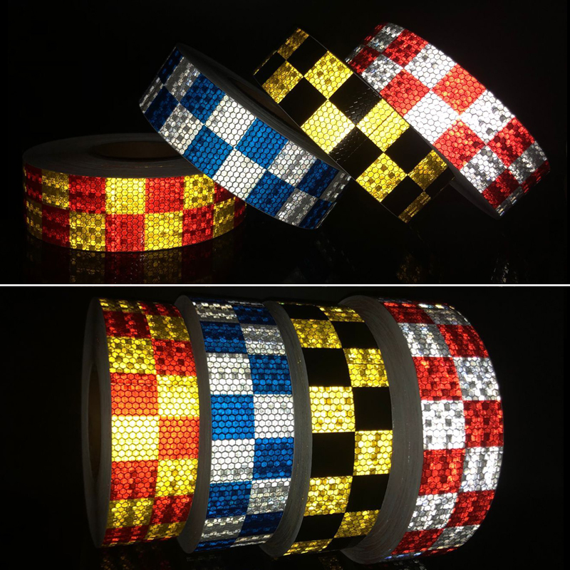 10Roll Wholesal Car Styling Reflective Sticker For Car Reflective Conspicuity Tape With Yellow/Black/White/Red/Blue Colors