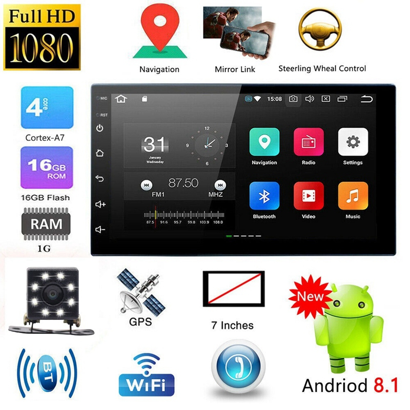 """Android 8.1 Car Stereo Player GPS Navigation 7/"""" 2 Din Radio WiFi BT FM Unit MP5"""