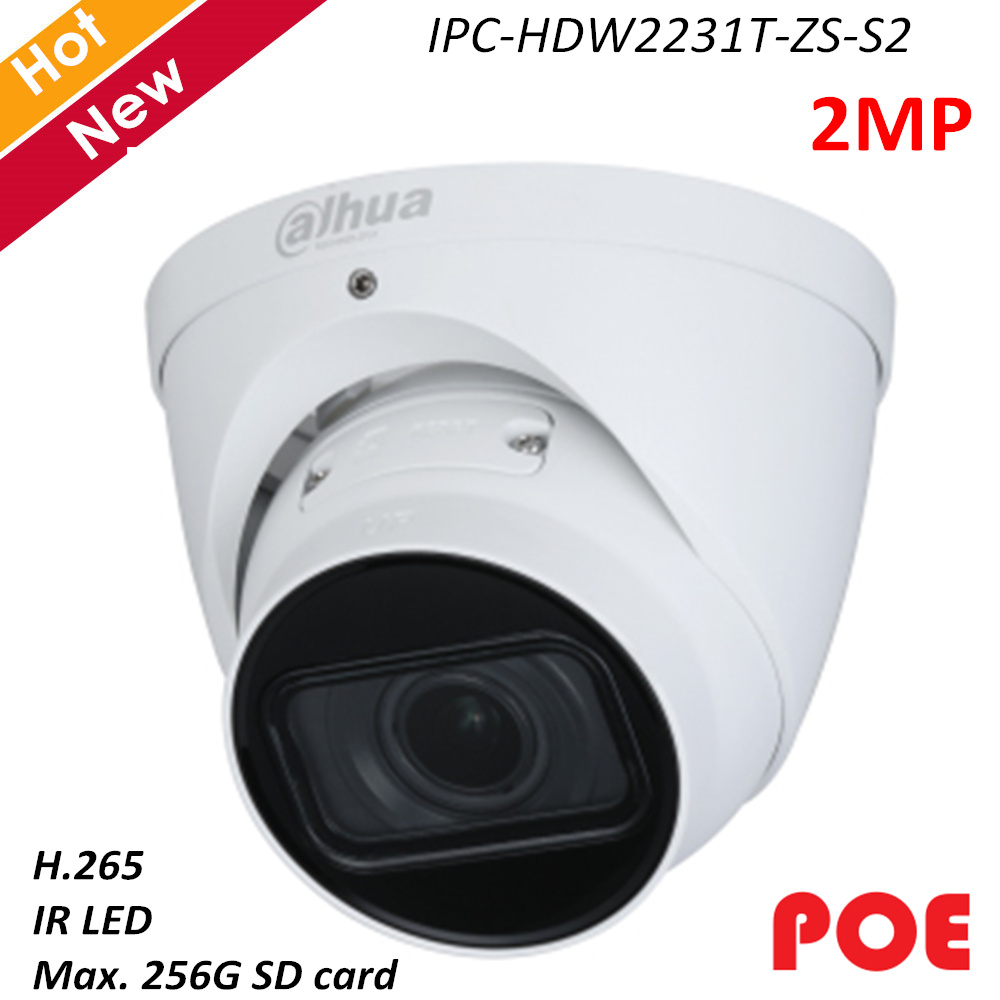Dahua 2mp IP Camera IPC-HDW2231T-ZS-S2 H.265 IR LED IR 40m Rotation Mode Intelligent Detection Support POE Lite Security Camera