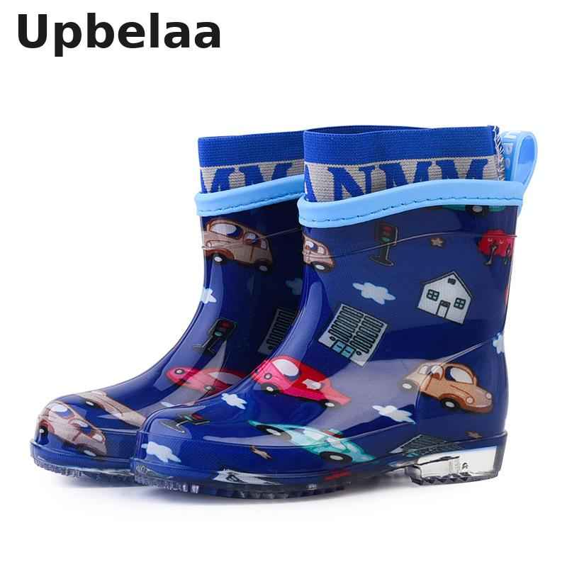 Kids Shoes Pvc Rubber Rain Boots Boys/girls Cartoon Children Water Shoes Waterproof Rainboots Non-slip Four Seasons Removable