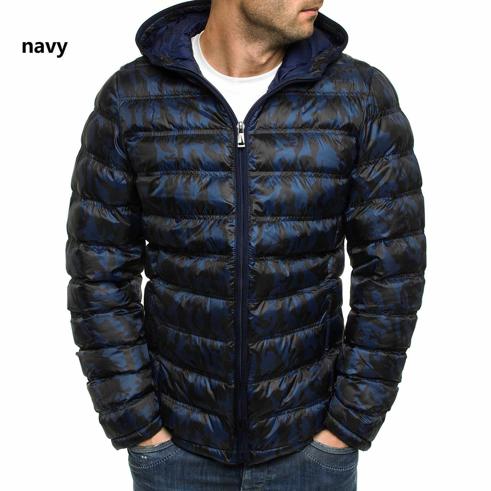 Laamei 冬のジャケットの男性迷彩ジャケット暖かいフード付きオーバーコートカジュアルブランドダウンジャケットパーカー男性パーカープラスサイズ