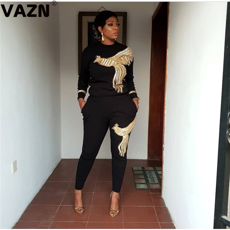 VAZN YWQS306 Fashion Sexy Style Sequins 2019 Long Pants 2Piece Full Sleeve Two Piece Long Pencil Pants Lady Women Casual Set